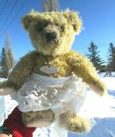 "VINTAGE GROWLER TEDDY BEAR BEIGE ELEANOR LACE DOLL DRESS VICTORIAN 13"" TAG CUTE"