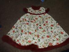 BOUTIQUE TRISH SCULLY 18M 18 MONTHS BEADED FLORAL DRESS FAUX FUR