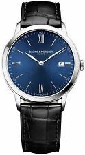 Baume & Mercier Classima Blue Dial Black Leather Date Quartz Mens Watch MOA10324