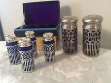 6 Vintage Cobalt blue silver filigree salt/pepper shakers Stamped UK PAT.