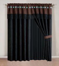 Luxury 4 PCS Western Lodge Black / Dark Brown Embroidered Lone Star Curtain Set.