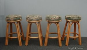 Four Tiki Palm Beach Style Bamboo Green Floral Swivel Barstools ~ French Country