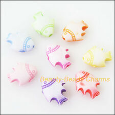 50Pcs Mixed Plastic Acrylic Tiny Animal Fish Charms Spacer Beads 9x11mm