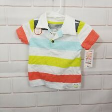 Just for You New 12m 18m Striped Polo Shirt Green Orange Blue White Basic Collar