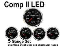 Comp II 2 Sport LED 5-Gauge Auto Gauge Meters Set Black with Stainless Steel USA