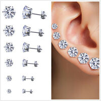 Stainless Steel Round Women Stud Earrings Cubic Zirconia Inlaid 3mm-8mm 6PaiLA