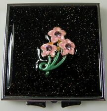 Enameled Metal MIRROR COMPACT Regular & Magnified Flowers Rhinestones Sparkles