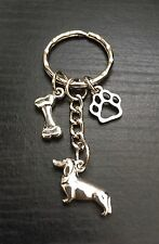 Silver Tone Dachshund/Sausage Dog Keyring/Bag Charm,Paw,Bone Charms, Great Gift,