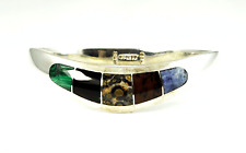 "Bangle Cuff Bracelet 15mm 7.75"" Sterling Silver Mexico Ati Tiara Inlay"