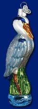 GREAT BLUE HERON OLD WORLD CHRISTMAS BLOWN GLASS NAUTICAL BIRD ORNAMENT 16041
