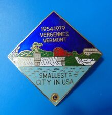 Vintage United States Lions Vergennes Vermont Pin Lapel Smallest City in USA
