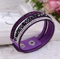 New Crystal Rhinestone Leather Wrap Wristband Cuff Punk Purple Bracelet Bangle