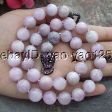"S082101 19"" 12MM Natural Round Purple Kunzite Necklace Cz Clasp"
