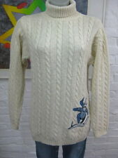 Schöner long Strick Pullover 32 34 XS S  Zopf Muster m.Wolle Locker Natur-creme