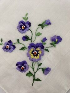 Pretty Vintage Lavender/ Purple Hanky Embroidered PANSY Cotton Hemstitching