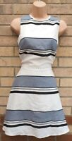 OASIS WHITE GREY COTTON STRIPED STRIPE SLEEVELESS SKATER A LINE TEA DRESS 8 S