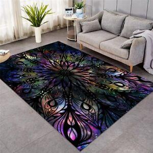 Galaxy Hippie Floral Mandala Boho Rectangle Rug Carpet Mat Living Room Bedroom