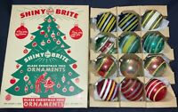 VINTAGE '40'S/'50'S GLASS CHRISTMAS ORNAMENTS - JUST STRIPES W/BOX