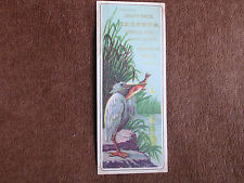 Croft Bros Carpets-Oriental Rugs/NYC/Heron Eating Fish/1880s Trade Card Bookmark