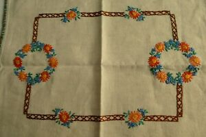 Part Raised Hand Embroidered Irish Linen Tray Cloth, Table Mat Flowers, Overlay