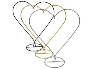 28cm Heart Shaped Metal Bauble & Ornament Display Stand - Gold, Silver or Black