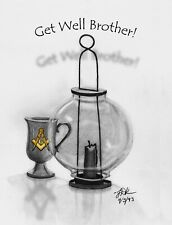 NEW! ART - Get Well Brother - Masonic  - 12 Note Cards w/envelopes