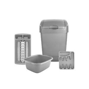 Kitchen Accessories - Grey Kitchen Bin 4 Piece Set - Easy Wipe-Clean Plastic