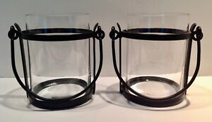 2 Pottery Barn Hanging Hurricane Candle Holders Rubbed Bronze Metal