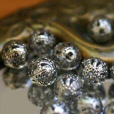 """20 Perles Boules Métal FILIGRANES  """"Argenté""""  Ø 6 mm"""