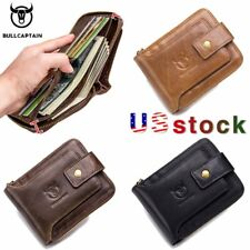 BULLCAPTAIN Brand Men Cowhide Genuine Leather purse male RFID card holder wallet