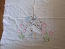 Antique Baby Crib top Sheet Mid-Century Embroidered Pink Bunny