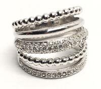 Swarovski® signed SWAN Logo Pave Crystal Silver Tone Spiral Ring Size 58