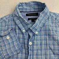 Banana Republic Button Up Custom 078 Wash Shirt Mens S Blue Green Camden Fit
