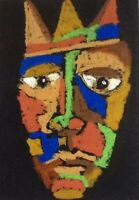 HINKLE abstract portrait king folk modern art painting expressionism oil pastel