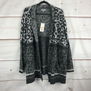 Joseph A Plus Size Mixed Leopard-Knit Coatigan Womens 3X Open Front Gray Sweater