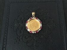 Vintage 1992 1/10 Ounce Australia Gold Coin Pendant With Diamonds and Rubies
