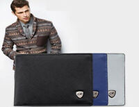 PIDENGBAO MEN'S faux leather Wallet Zipped Money Pouch Black Navy Grey UK Seller