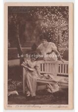 l & p AK 1919 Postkarte Fotografie Fotos Mutter kind Tauben Garten Frühling