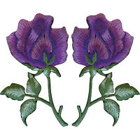Pair of Purple Rose Patches Iron On Sew On Embroidered Roses Flower Patch Badge