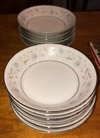 "New English Garden 12 Dessert Bowls 5"" Fine China 1221 Blue Floral Silver Trim"