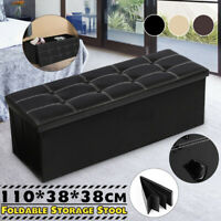 660lbs 43'' PU Leather Ottoman Seat Bench Storage Large Folding Footrest