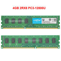 For Crucial 4GB 2Rx8 PC3-12800U DDR3-1600Mhz 1.5V UDIMM Desktop Memory RAM