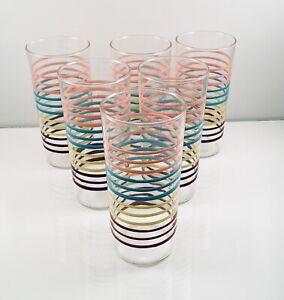 Vintage Anchor Hocking Drinking Glasses Stripes Set of 6