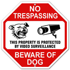 Warning Video Surveillance No Trespassing Beware of Dog Sign Metal Aluminum cctv