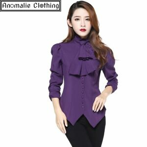 Chic Star Steampunk Blouse with Ruched Sleeves - Purple Victorian Goth Steampunk
