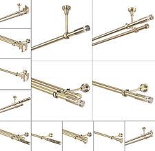 Gardinenstange 19mm 1-läufig / 2-läufig Wand/Decke Antik-Gold 120-600cm NEU