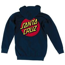 Santa Cruz Classic Dot Zip Front Skateboard Hoodie Navy Large