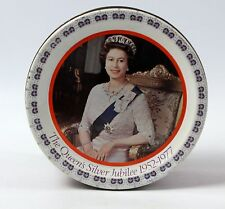 1977 Silver Jubilee Elizabeth II Mackintosh Metal Tin with Lid 5.5 Inch Diameter