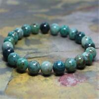 8mm Natural Azurite Handmade Mala Bracelet Lucky Chakas Wrist Sutra Healing Cuff