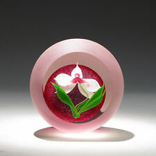 """Correia Art Glass Paperweight """"ORCHID"""" Limited Edition Nr. 24/200 Collectible"""